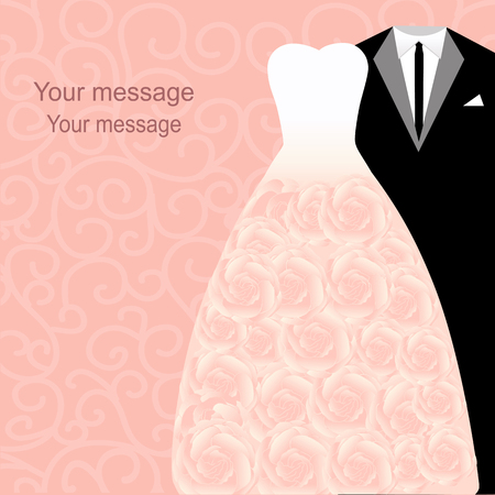 Bruiloft uitnodiging met een smoking en jurk op een abstracte achtergrond. Bruid en bruidegom.
