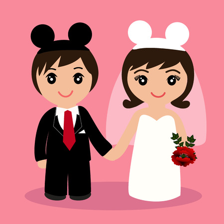 Wedding card with the newlyweds on a pink background. Bride and groom. Also suitable for invitation card. Vector illustration.