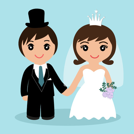 Wedding card with the newlyweds on a blue background. Bride and groom. Also suitable for invitation card. Vector illustration.