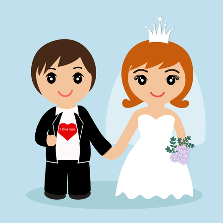 Bride and groom. Wedding card with the newlyweds on a blue background. Also suitable for invitation card. Vector illustration.