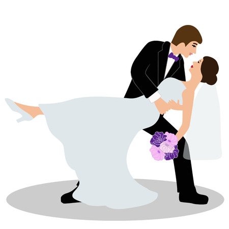 Wedding card with the newlyweds on a white background. Bride and groom. Also suitable for invitation card. Vector illustration.