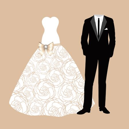 Clothes of the bride and groom. Beautiful wedding dress and suit. Vector illustration. Ilustracje wektorowe