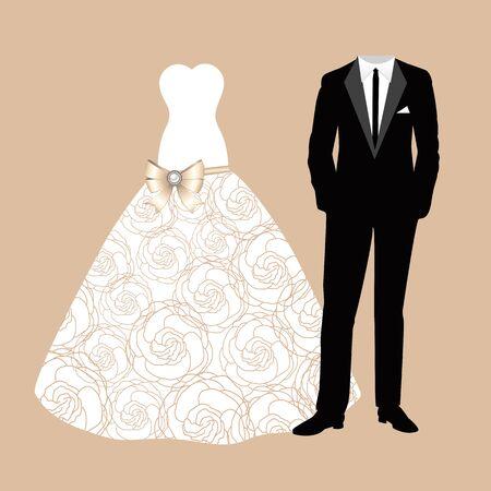 Kleding van de bruid en bruidegom. Mooie trouwjurk en pak. Vector illustratie. Vector Illustratie