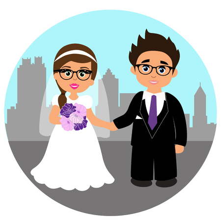 Wedding card with the newlyweds on the background of the city. Bride and groom. Also suitable for invitation card. Vector illustration.
