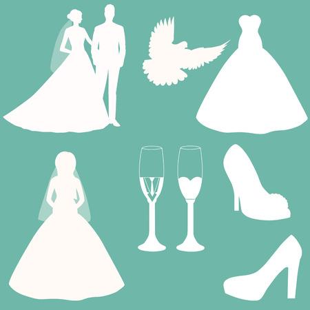 Bride and groom. Wedding design. Wedding decoration. Wedding icons set. Wedding elements for infographics or invitation. Vector illustration.