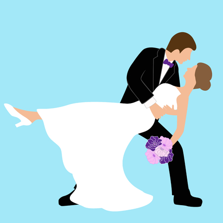 Wedding card with the newlyweds. Bride and groom. Also suitable for invitation card. Vector illustration.