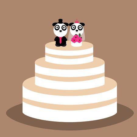 Wedding cake with funny pandas. Wedding cake with bride and groom figurine. Vector illustration. Illustration