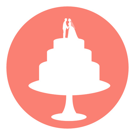 Icon wedding cake. Wedding cake with bride and groom figurine. Vector illustration.