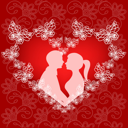Silhouette of couple in the heart of butterflies on the background with ornament. Valentines Day. The bride and groom. Wedding invitation. Vector illustration.