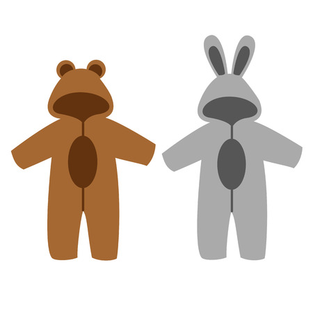 Romper suit. Rompers with ears. Rompers, bunny and bear. For girls and boys.