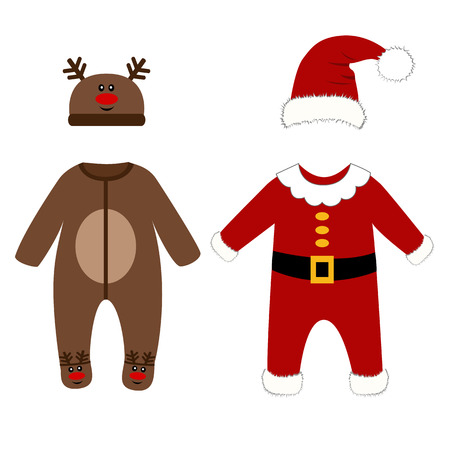 rompers: Romper suit. Christmas costumes for children. Dressed as Santa and Christmas deer. For girls and boys. Vector illustration.