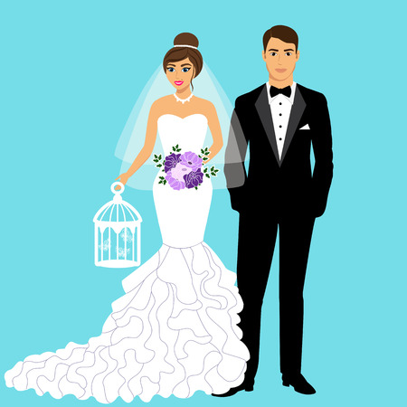 Bride and groom. Couple. Wedding card with the newlyweds.Tuxedo and dress. Isolated objects. Vector illustration.