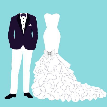 Wedding card with the clothes of the bride and groom. Beautiful wedding blue dress and tuxedo. Vector illustration. Illustration