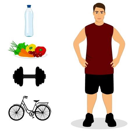 deportes caricatura: Delgado. Nutrición apropiada. Estilo de vida saludable. Ilustración de Vector de objetos aislados de deportista