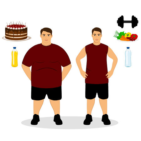 excess: Thin and fat. Proper nutrition. From fat to thin. Before and after. Healthy Lifestyle. The guy becomes thin. Isolated objects. Vector illustration. Illustration