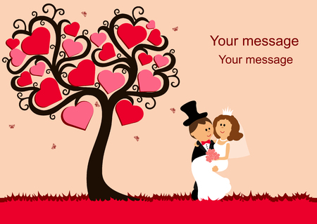 Bride and groom. Wedding card with the newlyweds on the background with decorative tree and butterflies. Wedding invitation. Vector illustration. Illustration