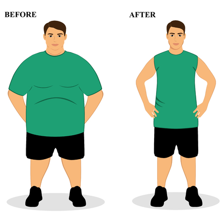 excess: Thin and fat. Obesity. From fat to thin. Before and after. Healthy Lifestyle. The guy becomes thin. Isolated objects. Vector illustration. Illustration