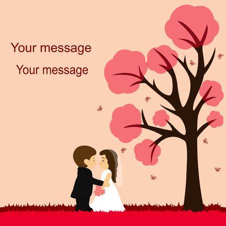 Bride and groom. Wedding card with the newlyweds on the background with decorative tree and butterflies. Wedding invitation. Vector illustration. 向量圖像