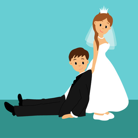 Bride and groom, Cartoon. Funny. Couple. Wedding card with the newlyweds. Vector illustration