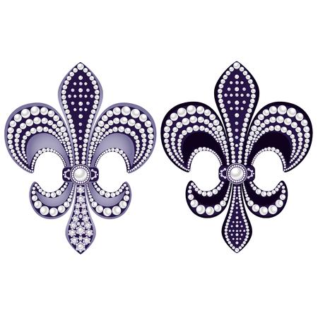 Decoratief sieraad met parels, geïsoleerd op een witte achtergrond. Vector illustratie. Vector Illustratie