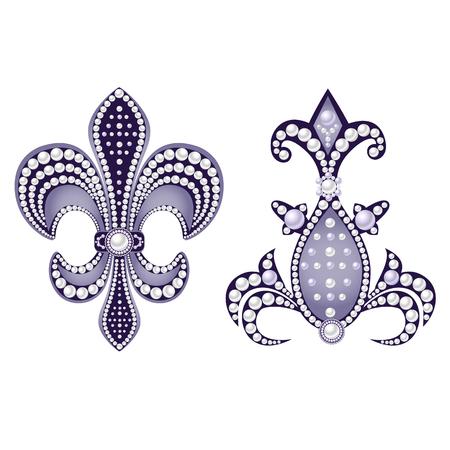 Decoratief sieraad met parels, geïsoleerd op een witte achtergrond. Vector illustratie.