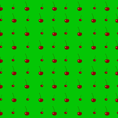 Red cherries seamless pattern. Ripe berries at green background. Vector illustration. Illustration