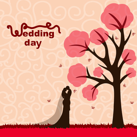 Bride and groom. Wedding card with the newlyweds on the background with decorative tree and butterflies . Wedding invitation. Vector illustration. 向量圖像