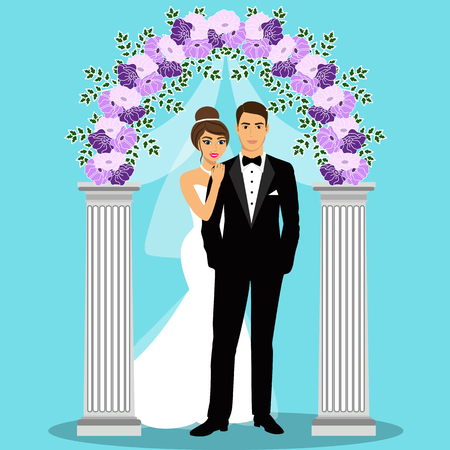 Wedding arch with bride and groom. Bride and groom. Wedding decoration. Vector illustration. Illustration