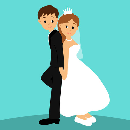 Bride and groom, Cartoon. Couple. Wedding card with the newlyweds. Vector illustration Illustration