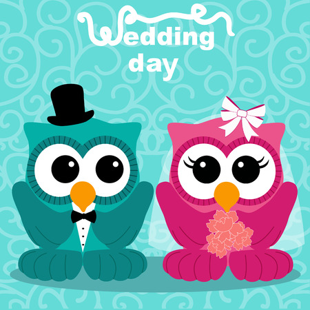 Wedding card with the bride and groom on an abstract background. Owls. Bride and groom. Vector illustration. 向量圖像
