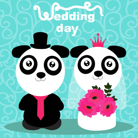 Wedding card with the bride and groom on an abstract background. Pandas. Bride and groom. Vector illustration. Illustration