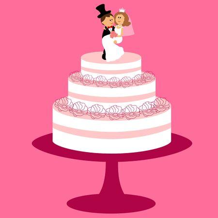 Wedding cake with bride and groom figurine. Bride and groom. Cake with cream. Vector illustration.