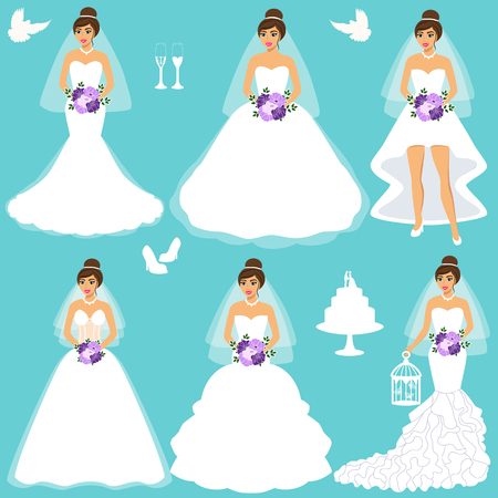 Bride. Wedding set. Collection. A set of wedding clothes. Isolated objects. Vector illustration