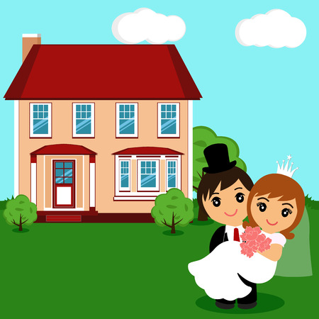 Bride and groom. House. A postcard with newlyweds on the background of the house. Cartoon. Vector illustration.