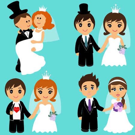 Bride and groom, Cartoon. Set. Collection Couple Vector illustration
