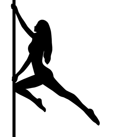 Girl dancing on the pylon. Dance. Isolated objects. Vector illustration