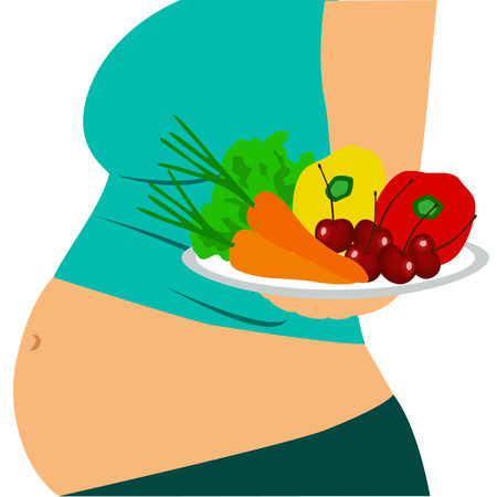 Pregnant woman. Girl with a bowl of fruit. Healthy eating. Healthy Lifestyle. Vector illustration. Illustration