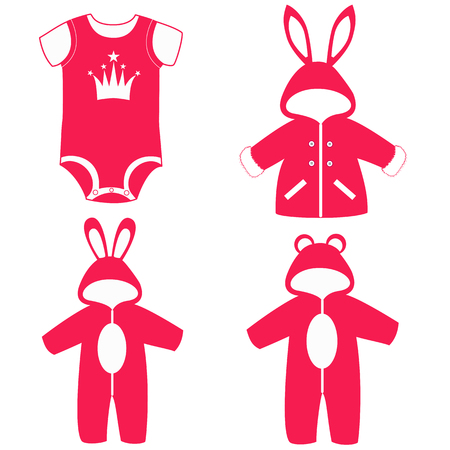 Romper suit. Rompers with ears. Rompers,bunny, bear. For girls Set Collection Vector illustration