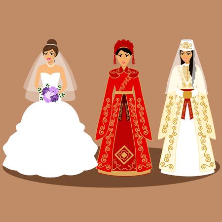 Traditional European, American, Chinese, Caucasian, Armenian bride. Bride in wedding dress Vector illustration 矢量图像