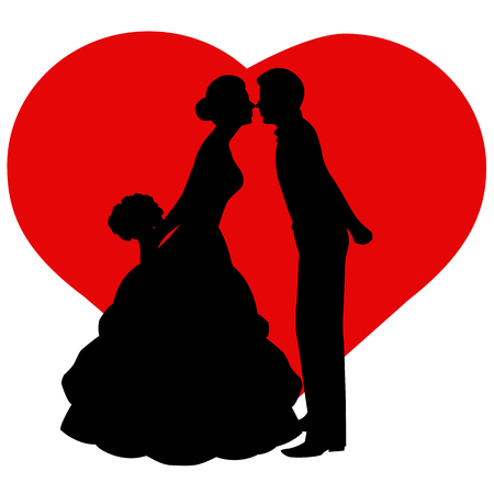 enamored: The bride and groom. The black silhouette of bride and groom on background heart. Also suitable for invitation card. Vector illustration.