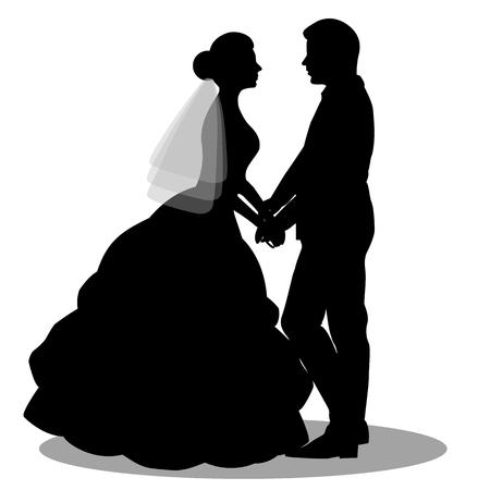 8 x Mariée et Marié Mariage #2 Silhouette Die Cuts Qualité Carte Noire