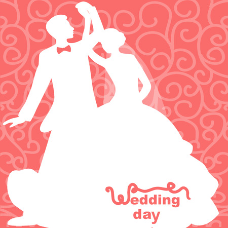Wedding card with the bride and groom on an abstract background. Bride and groom. Vector illustration.