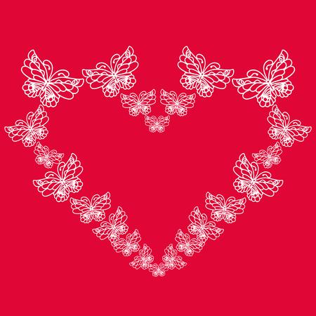 Heart made of butterflies. Isolated object. Wedding invitation. Vector illustration Illustration