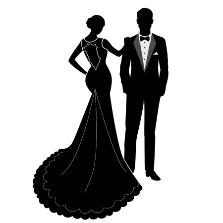 The bride and groom. The black silhouette of a bride and groom isolated on white background. Vector illustration. 向量圖像