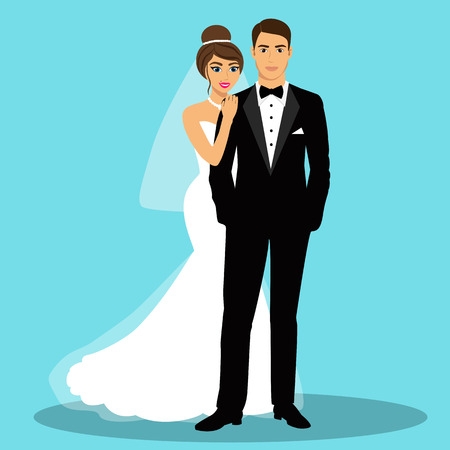 enamored: Bride and groom. Couple. Wedding card with the newlyweds. Isolated objects. Vector illustration.