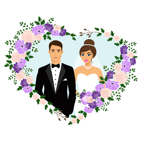 Bride and groom. Wedding card with the newlyweds in the heart of flowers. Wedding invitation. Vector illustration. Illustration
