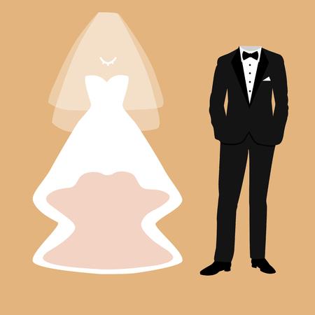 Tarjeta de boda con la ropa de la novia y el novio. Hermoso vestido de novia y esmoquin. Ilustración del vector. Foto de archivo - 84563980