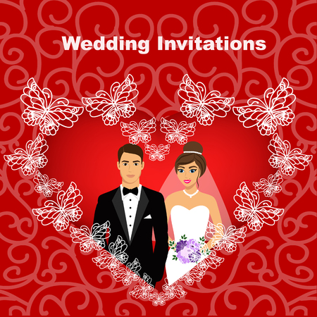 Bride and groom. Wedding card with the newlyweds in the heart of butterflies, on the background with ornament. Wedding invitation. Vector illustration.