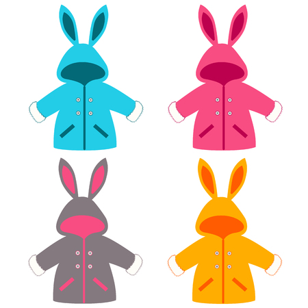 Baby coat with ears. Baby clothes. Childrens jacket, bunny. Outerwear. For girls and boys. Vector illustration.