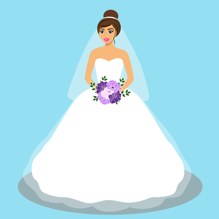 Wedding card with the bride on a blue background. Bride. Bride in wedding dress with a bouquet. Vector illustration. Illustration